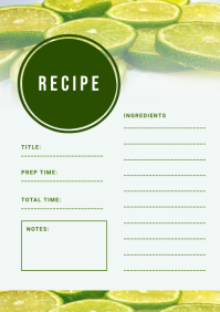 Lemon Themed Recipe Card