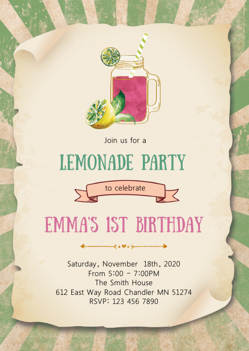 Lemonade birthday party invitation A6 template