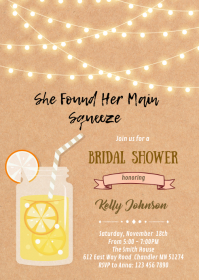 Lemonade theme shower birthday invitation A6 template