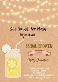 Lemonade theme shower birthday invitation