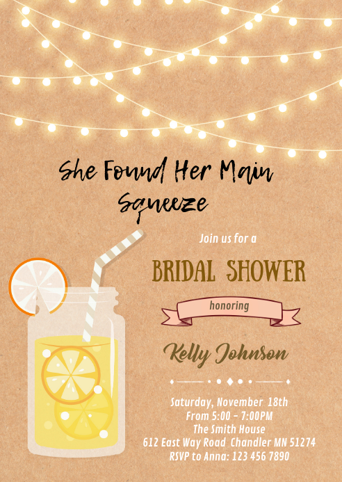 Lemonade theme shower birthday invitation A6 template