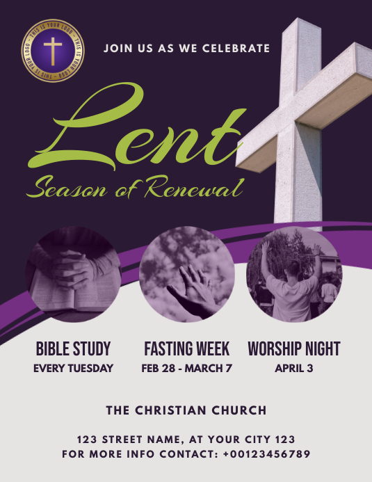 Lent season church event flyer Ulotka (US Letter) template