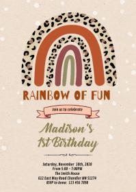 Leopard Rainbow birthday party invitation A6 template