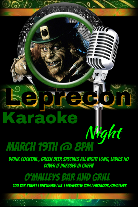 Leprecon Karaoke Night Flyer Template  Postermywall