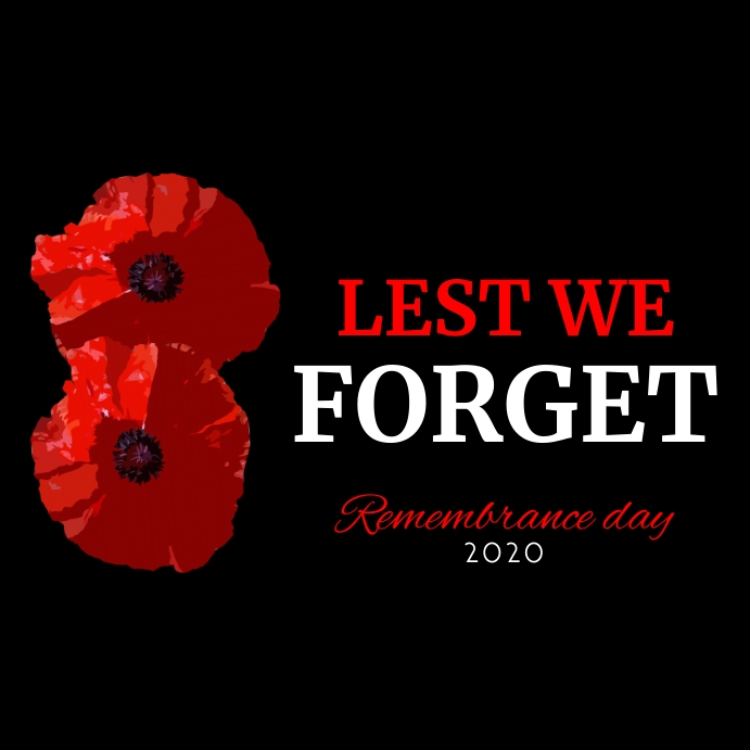lest we forget red and white colors instagram template