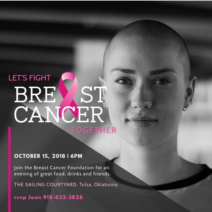 Let's Fight Breast Cancer Awareness Video Ad Template Post Instagram