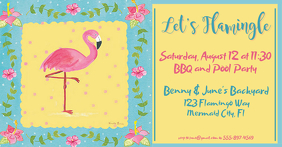 Let's Flamingle Pool Party and BBQ Immagine condivisa di Facebook template