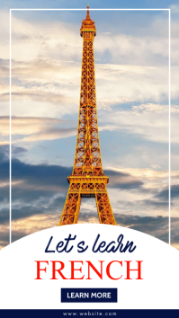 let's learn french instagram story advertisem template