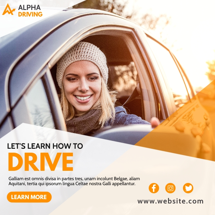 let's learn how to drive white and orange col Pos Instagram template