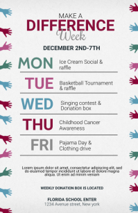 Let's Make A Difference Week Flyer Template Tabloide