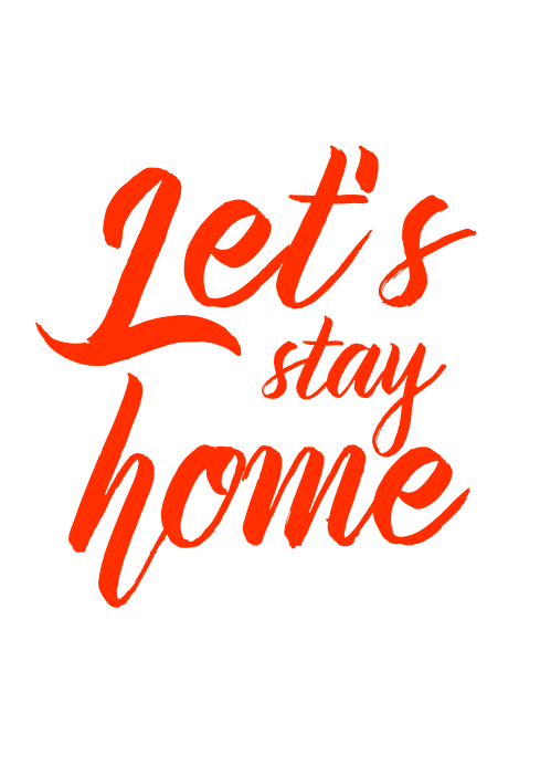 Let's stay home red wall art canva A3 template