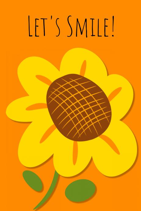 let's smile sunflower poster design