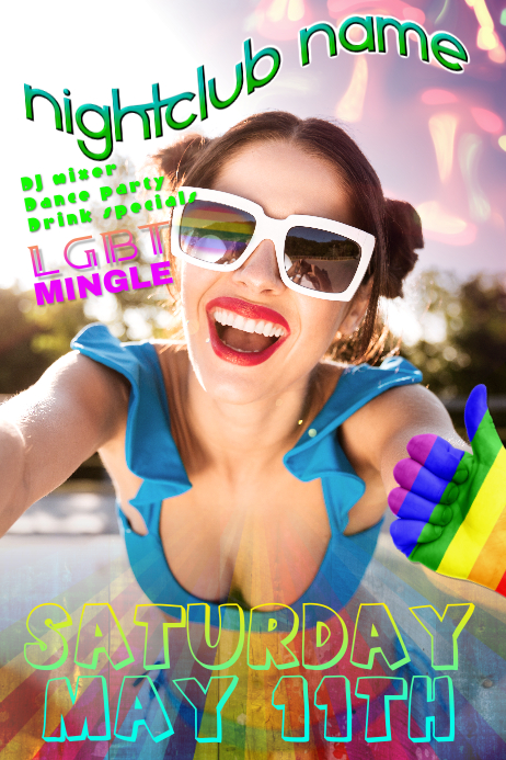 LGBT Gay Bisexual Dance Party Club Poster Template