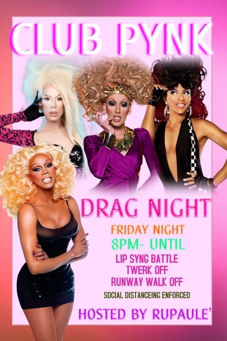 LGBTQ Gay Pride Club Drag Show Plakat template