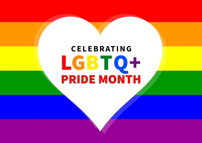 LGBTQ Pride month banner post Postcard template