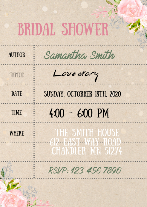 Library card shower invitation