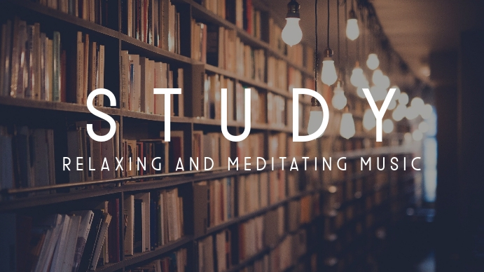 library music study youtube thumbnail template