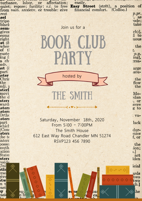 Library theme party invitation A6 template