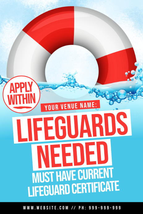 Lifeguards Needed Poster Plakat template