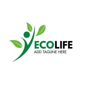 light and dark green eco movement vegan life Logo template