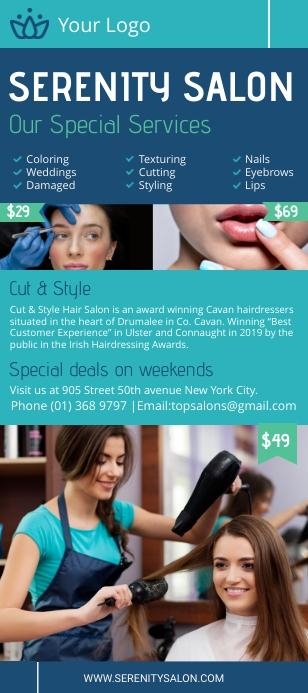 Light blue beauty salon rack card template