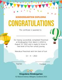 Light blue cloudy kindergarten diploma certif Flyer (format US Letter) template