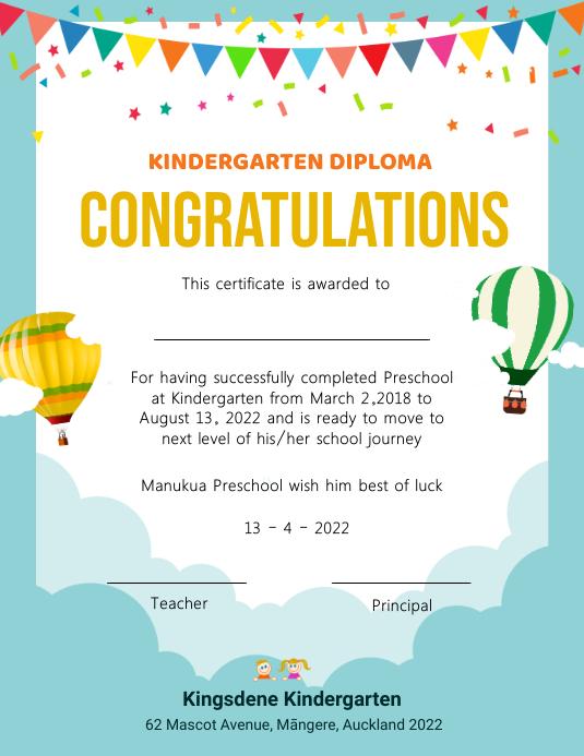 Light blue cloudy kindergarten diploma certif Рекламная листовка (US Letter) template
