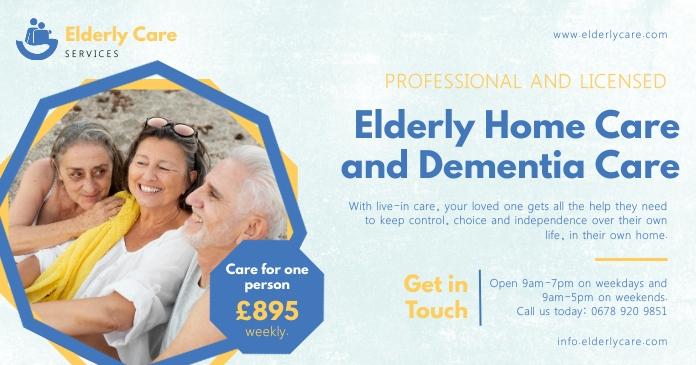 Light Blue Elderly Home Care Facebook Post Obraz udostępniany na Facebooku template