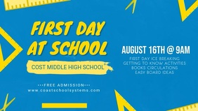 Light Blue First Day of School Banner Facebook Cover Video (16:9) template