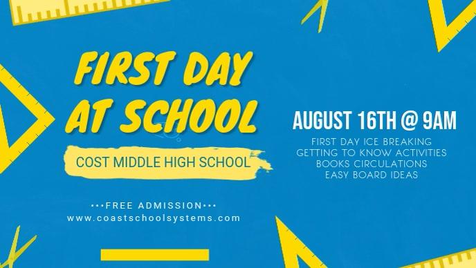 Light Blue First Day of School Banner
