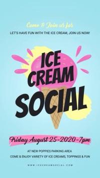 Light Blue Ice Cream Social Digital Display