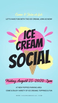 Light Blue Ice Cream Social Digital Display Affichage numérique (9:16) template
