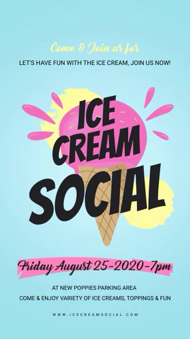Light Blue Ice Cream Social Digital Display template