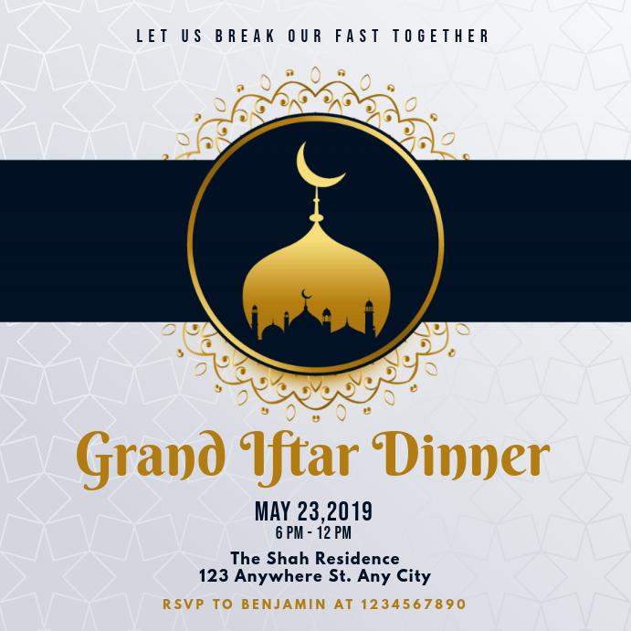 Light Blue Iftar Invitation Instagram