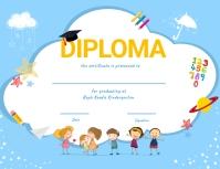 Light blue kindergarten diploma certifcate Flyer (format US Letter) template