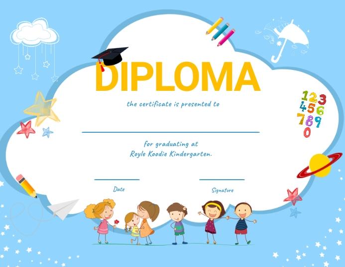 Light blue kindergarten diploma certifcate Рекламная листовка (US Letter) template