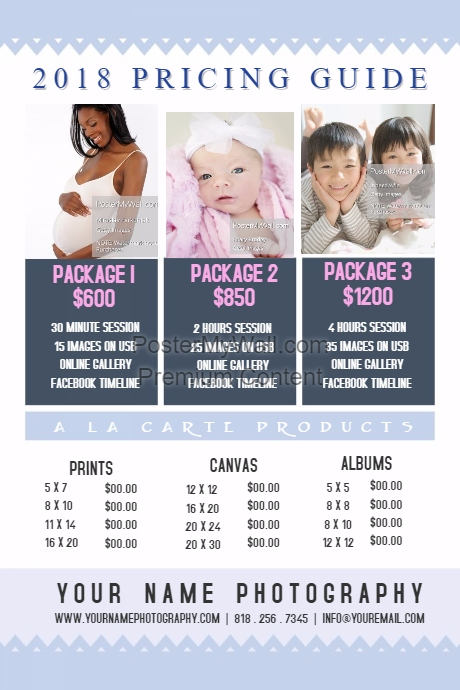 Light Blue Photography Pricing Guide Template Retail