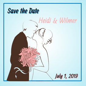 Light Blue Save the Date Card Instagram