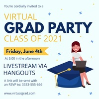 Light blue virtual grad party invitation Publicação no Instagram template