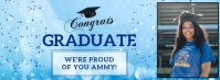 Light blue virtual graduation party Facebook template