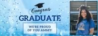 Light blue virtual graduation party Facebook Ikhava Yesithombe se-Facebook template