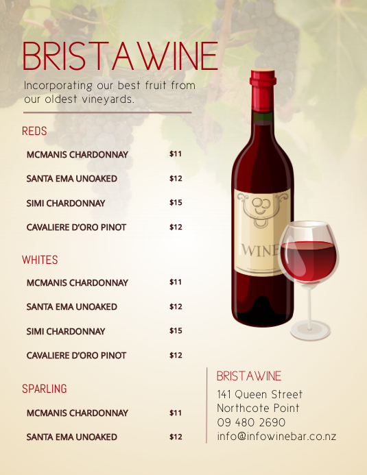 Light brown wine list Flyer (Letter pang-US) template