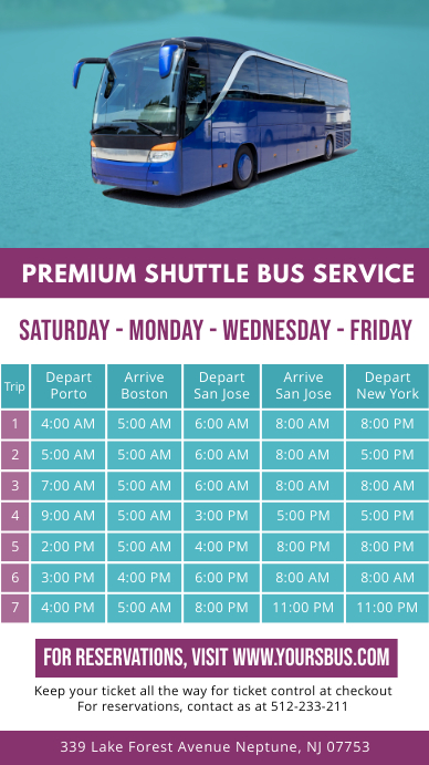Light Green Bus Schedule Digital Display template