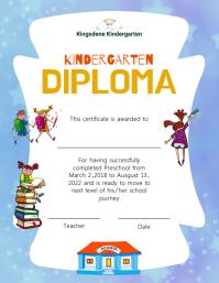 Light purple and white kindergarten diploma c Flyer (format US Letter) template
