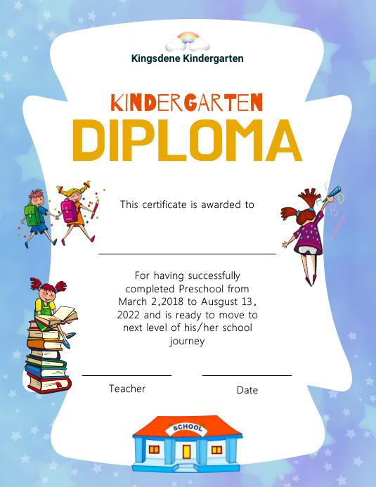 Light purple and white kindergarten diploma c Рекламная листовка (US Letter) template