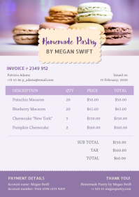 Lilac Cafe Invoice A4 template