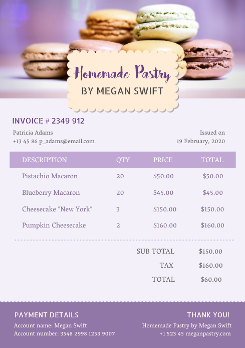 Lilac Cafe Invoice