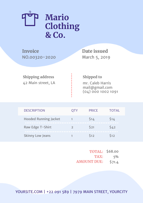Lilac Clothing Retail Invoice