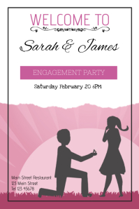 lilac engagement party invitation portrait template