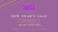 Lilac New Year Sale Facebook Cover Video template